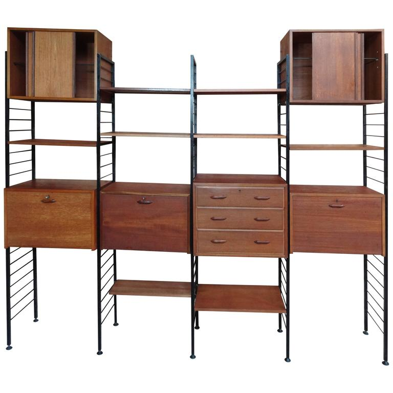 Room Divider Freestanding Black Metal Teak Wall Shelving Storage With Two Desks 1