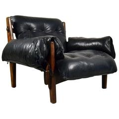 Early Mischievous / Mole Chair by Brazilian Sergio Rodrigues in Black Leather