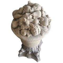 18th Century French Cast Stone Fruit and Flower Urns