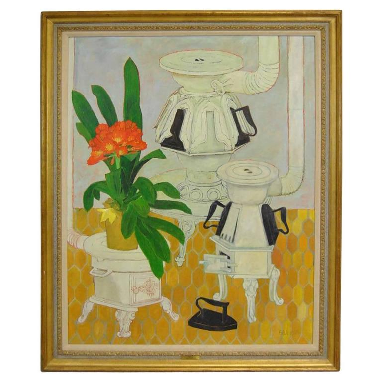 """Large Modern Oil on Canvas """"Hot Iron"""" Title by Fred A. Jessup, Australia, 1960"""