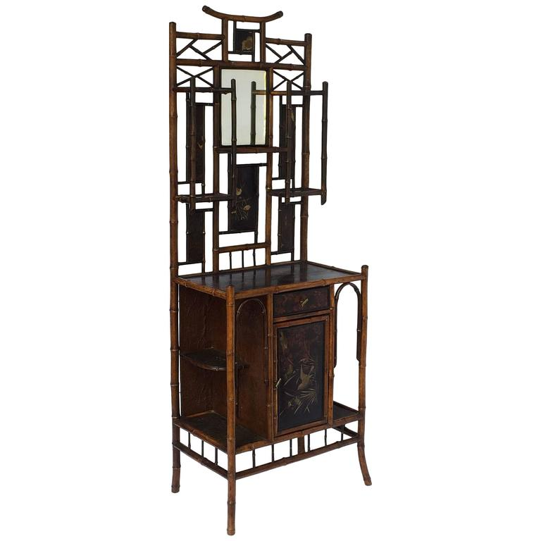 Large English Bamboo Lacquered Cabinet with Beveled Mirror and Door