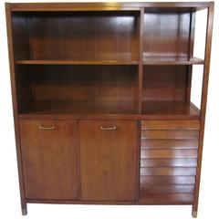 American of Martinsville Tall Walnut Cabinet Server, Bookcase or China Hutch
