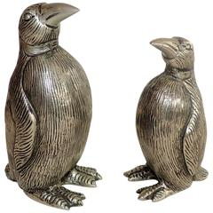 Wonderful Vintage Gucci Italy Set Silver Plated Penguin Salt and Pepper Shakers