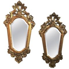 Pair of Italian Gilt Carved Mirrors