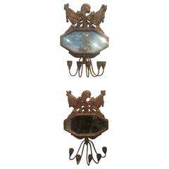 Pair of Vintage Five-Light Sconces, Carved Wood and Gilt