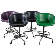 Set of Four Mid-Century Stools with La Fonda Seats by Charles and Ray Eames