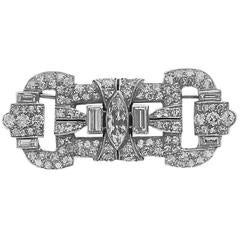 Art Deco Platinum Diamond Plaque Pin Brooch, circa 1930