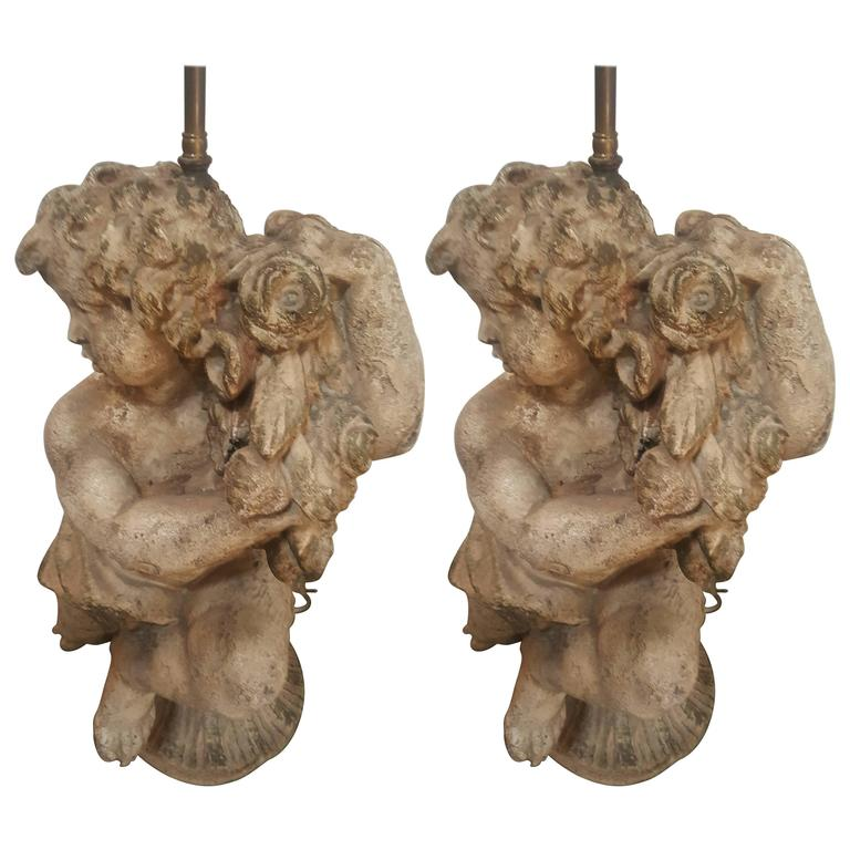 Pair of Vintage 1950s Cherub Lamps, Right and Left 1