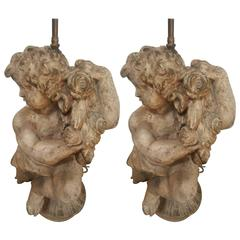 Pair of Vintage 1950s Cherub Lamps, Right and Left