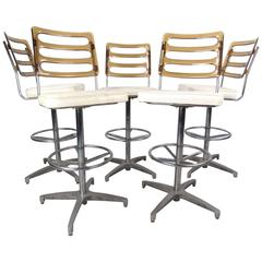 Set of Mid-Century Lucite and Vinyl Bar Stools by Chrome Craft