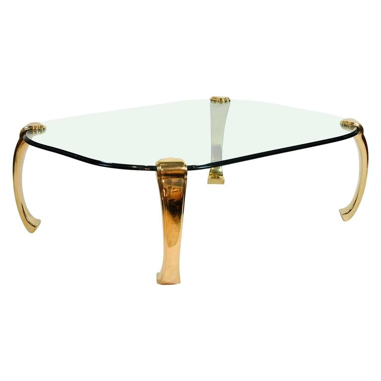 Mid Century Modern Ming Inspired Hollywood Regency Glass And Brass Coffee Table For