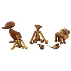 Set of Six Vintage Mid-Century Wood Animal Toys
