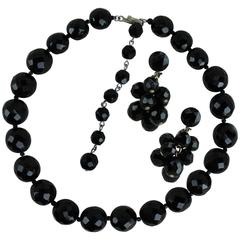 Vintage Hobé Jet Black Faceted Glass Bead Choker Necklace and Dangle Earrings