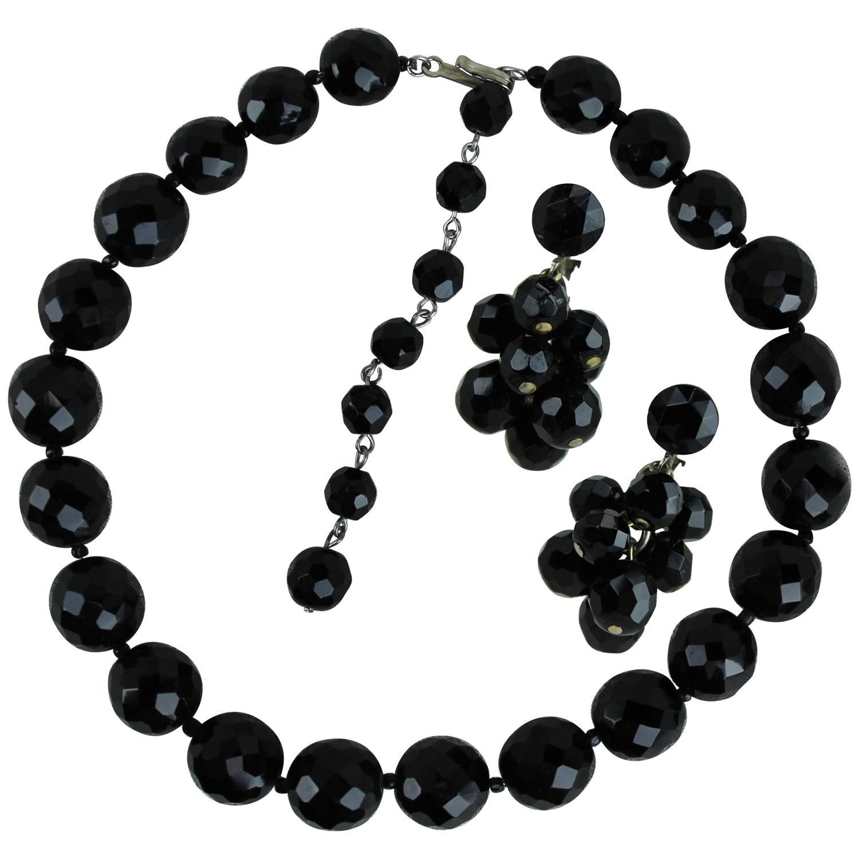 Black Crystal Necklace,Vintage 3 Strand Necklace,Faceted Jet bead,Black Choker Necklace,Vintage Crystal Jewelry,Glass Beads,Midcentury Black