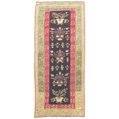 Mid 19th Century Outstanding Floral Bessarabian Kilim with Light Green Border