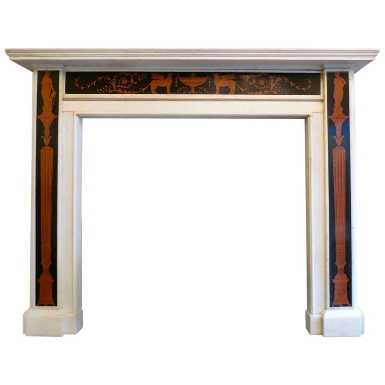 Early 19th century irish marble fireplace mantel for Marble mantels for sale