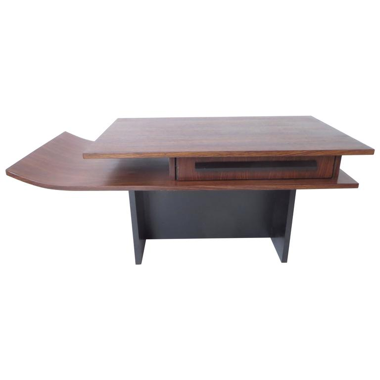 Italian Two-Level Rosewood Coffee Table with One Drawer on Black Laminate Base For Sale