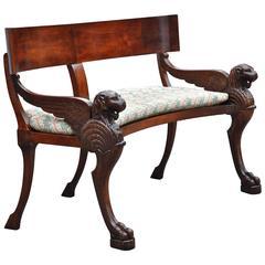 Rare 19th Century Walnut Klismos Bench