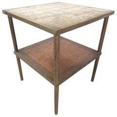 Mid-Century Modern Two-Tier Brass End Table