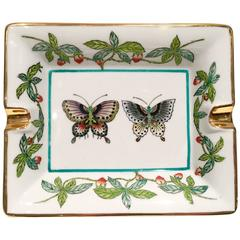 Hermes Style Chinese Export Porcelain Butterfly Ashtray