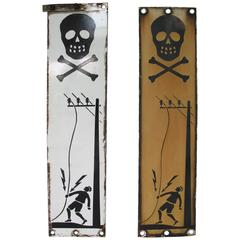 Pair of Skull and Crossbones Warning Signs
