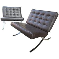 Pair of Barcelona Leather Lounge Chairs