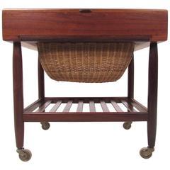 Mid-Century Danish Teak Sewing Basket by Vitre of Denmark