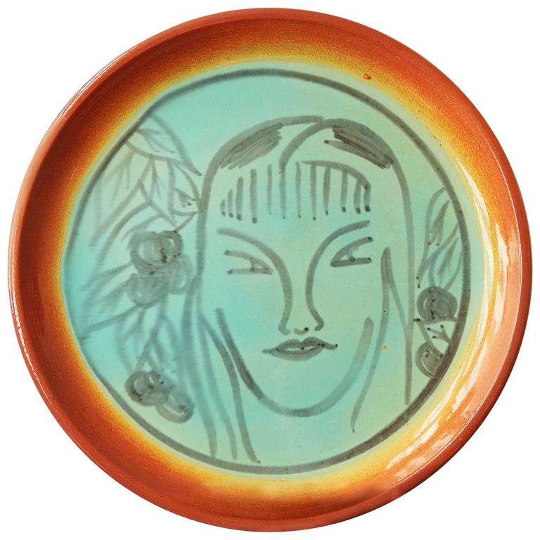"""Exotic Scene with Female Figure,"" Rare and Large Art Deco Platter by Pereny For Sale"