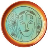 """Exotic Scene with Female Figure,"" Rare and Large Art Deco Platter by Pereny"