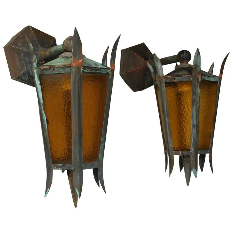 Copper Wall Sconces Outdoor : Beautiful Pair of 1920 Copper Outdoor Sconces at 1stdibs
