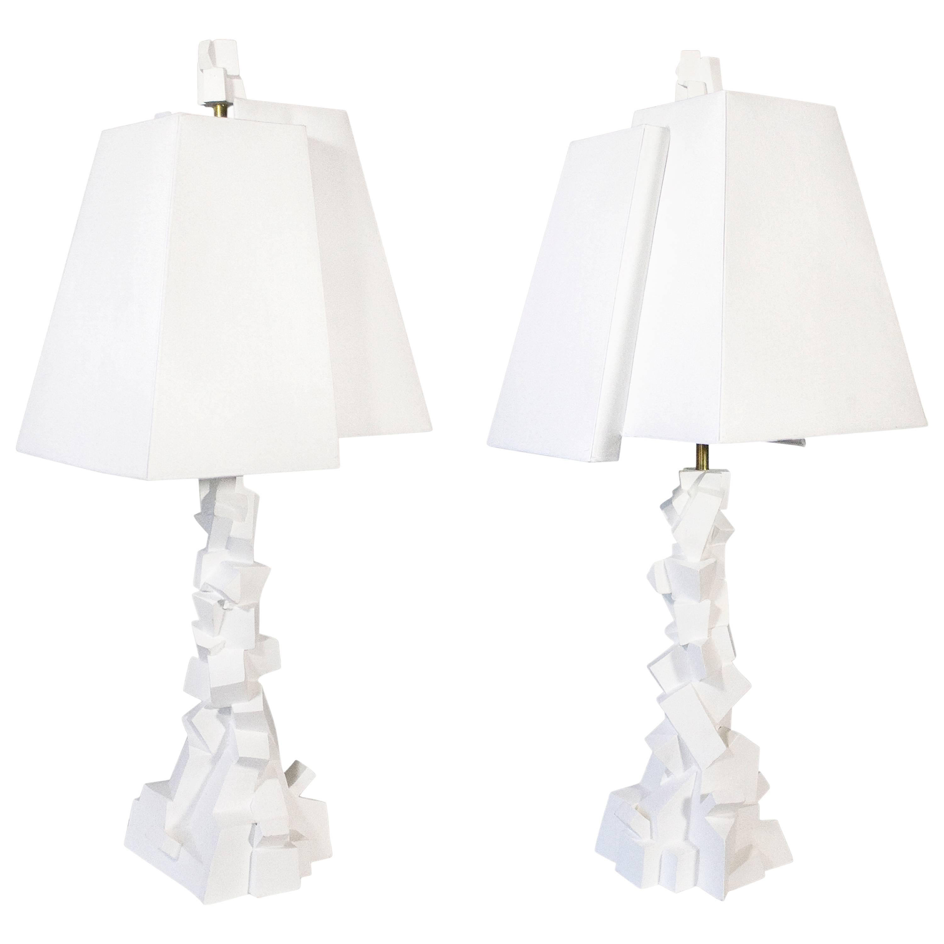 Pair of Jean-Jacques Darbaud Plaster Brutalist Table Lamps, France, circa 2015