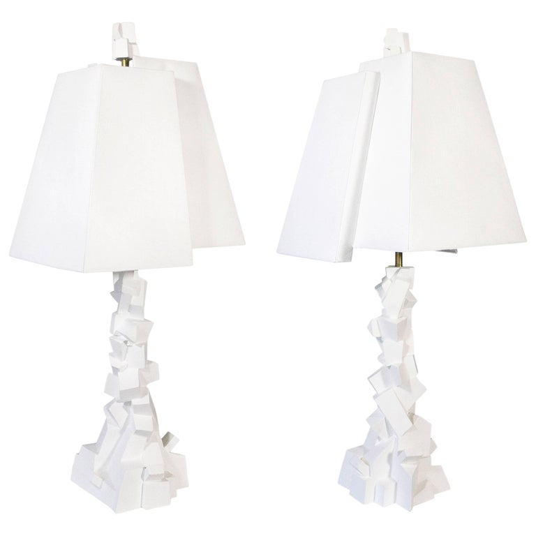 Pair of Jean-Jacques Darbaud Plaster Brutalist Table Lamps, France, circa 2015 For Sale