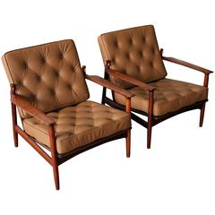 Rare Kofod Larsen Selig Solid Walnut Leather Lounge Chairs