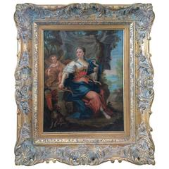 Giltwood Framed Oil on Canvas of French Classical Figure, Diana