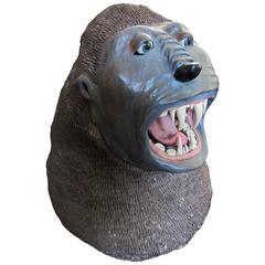 Ceramic Gorilla Head from a Carnival Arcade