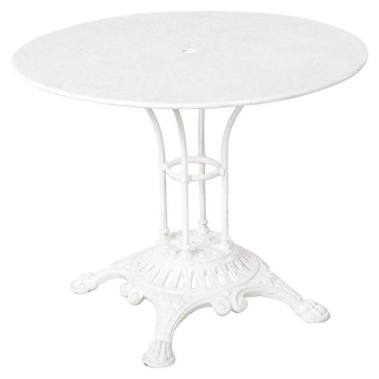Awesome 19th Century French Paris Round White Bistro Table With Cast Iron Base  Metal Top 1