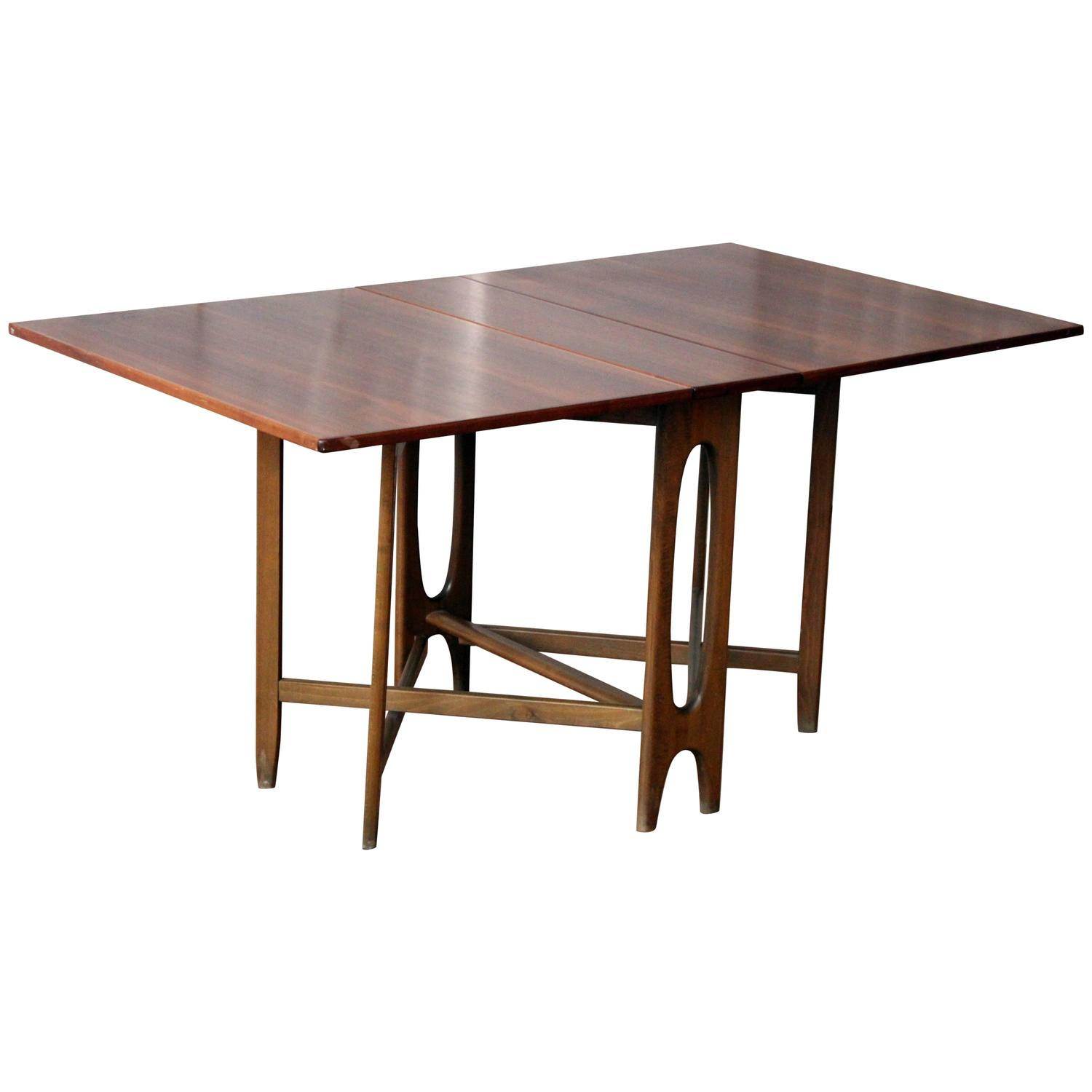 Bendt Winge Drop Leaf Walnut Table at 1stdibs