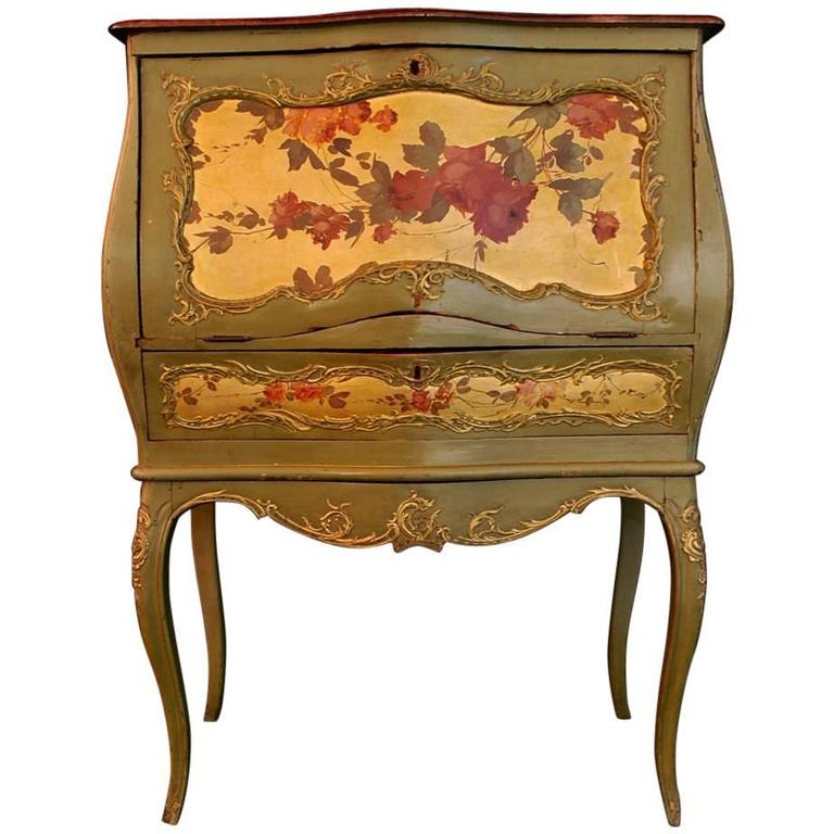 Beautiful French 19th Century Hand-Painted Secretary Desk For Sale - Beautiful French 19th Century Hand-Painted Secretary Desk For Sale