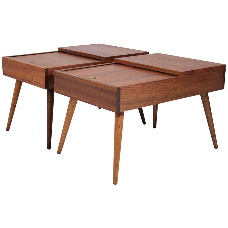 Brown Saltman End Tables by John Keal For Sale