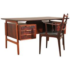 Danish Rosewood Executive Desk and Chair Designed by Gunni Omann