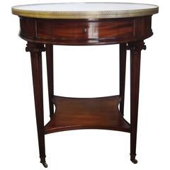 Round Marble-Top Mahogany Table