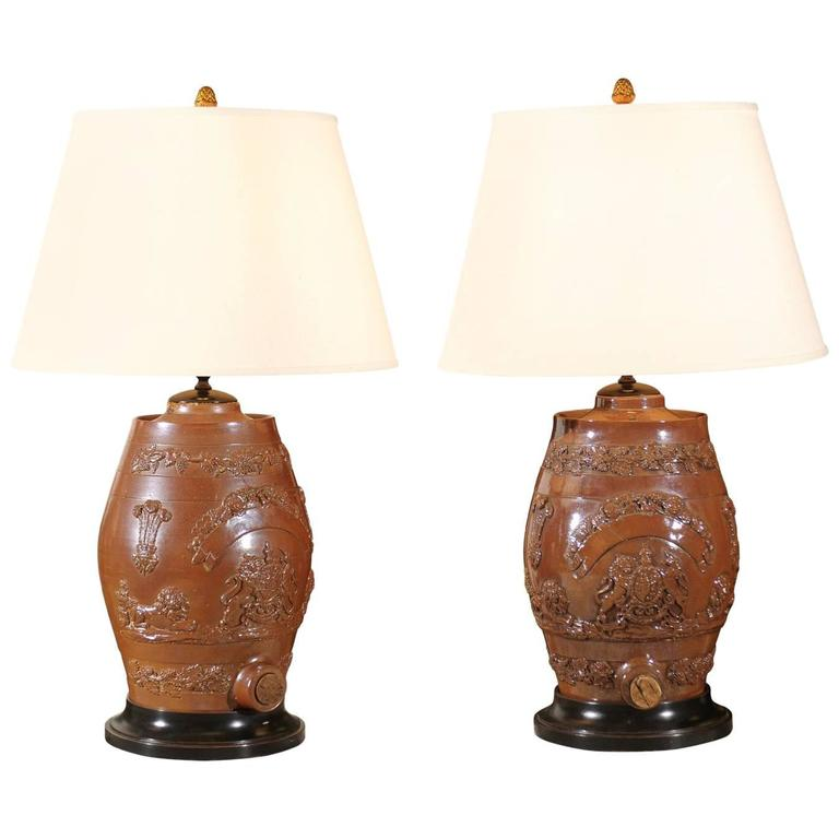 Pair of English Salt Glazed Water Filter Lamps at 1stdibs