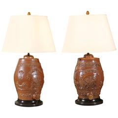 Pair of English Salt Glazed Water Filter Lamps