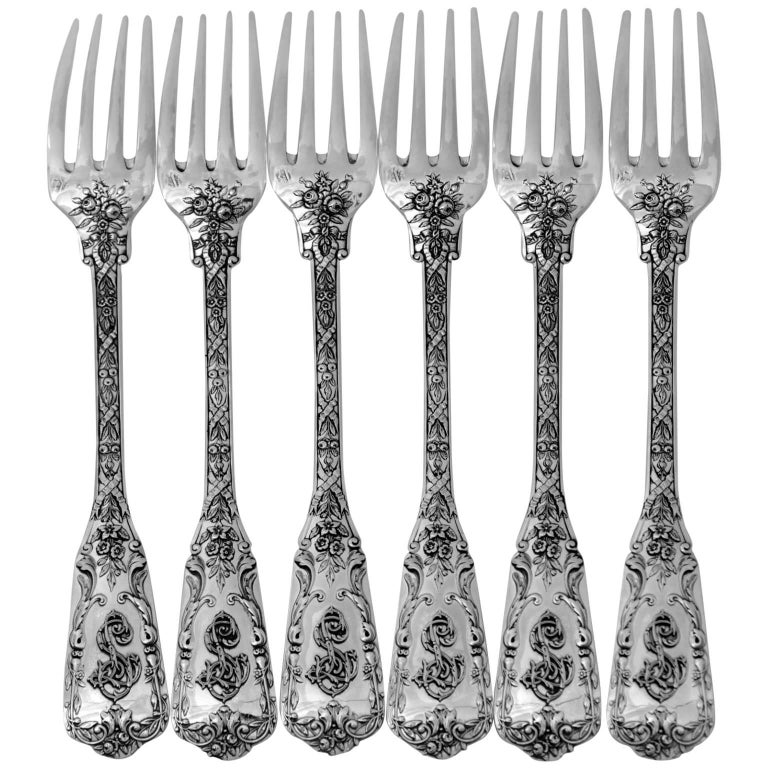 Cardeilhac French Sterling Silver Dinner Forks Set of Six Pieces, Neoclassical For Sale