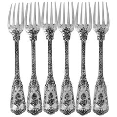 Cardeilhac French Sterling Silver Dinner Forks Set of Six Pieces, Neoclassical