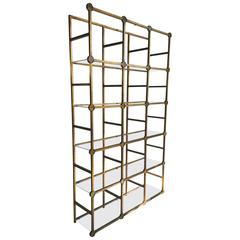 Modernist Architectural Gilded Iron and Glass Rondelles Étagère, Made in Italy