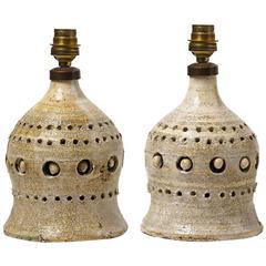 Beautiful Pair of Ceramic Table Lampe by Georges Pelletier, Vallauris, 1970