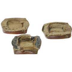 Set of Three Stoneware Ashtrays by Barbara Delfosse, circa 1970-1980