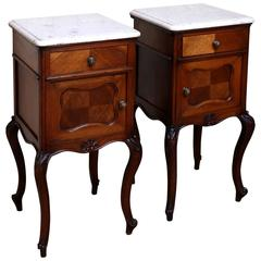 Pair of Walnut Marble-Top Bedside Cabinets