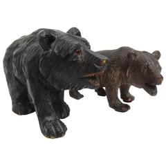 Ca 1880 Original carved wooden Black Forest Bear with Cub